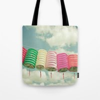 chinese Tote Bags featuring Chinese Lanterns by Cassia Beck