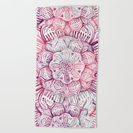 Burgundy Blush Watercolor Mandala Beach Towel