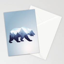 Bear Double Exposure Surreal Wildlife Animal Grizzly Wilderness Outdoors Stationery Cards