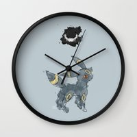 umbreon Wall Clocks featuring Evolution: Dark by David Flamm