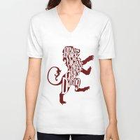gryffindor V-neck T-shirts featuring Gryffindor Pride by Gabriela Michelle