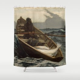 The Fog Warning / Halibut Fishing by Winslow Homer Shower Curtain