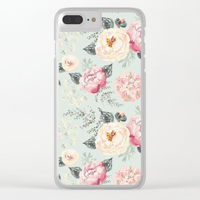Pink peonies bouquets with gray leaves pattern Clear iPhone Case