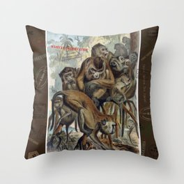Macaques for Responsible Travel Throw Pillow