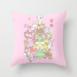 Animal Crossing (pink) Throw Pillow