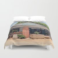 cafe Duvet Covers featuring Whistlestop Cafe  by Tiffany Dawn Smith