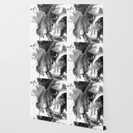 Black And White Half Faced English Bulldog Wallpaper
