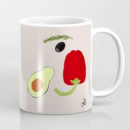 Looking at Avocado. Smiling Vegetable Face. Positive Vegetarian Vibes Kitchen Wall Decor Coffee Mug
