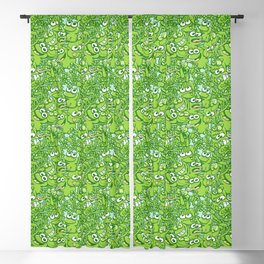 Funny green frogs entangled in a messy pattern Blackout Curtain