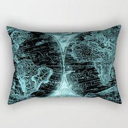 Antique World Map Turquoise Teal Blue Green Rectangular Pillow