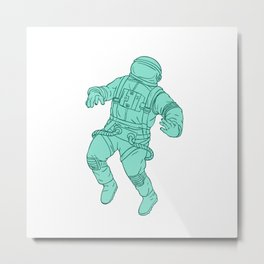 Astronaut Floating in Space Drawing Metal Print