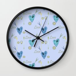 Love . The filigree heart . Blue background . Wall Clock