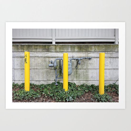 Yellow Posts  Art Print