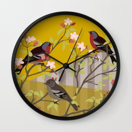 chaffinches in the cherry tree Wall Clock