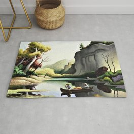 Classical Masterpiece 'Ozark Reflections' by Thomas Hart Benton Rug