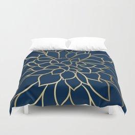 Floral Prints, Line Art, Navy Blue and Gold Duvet Cover
