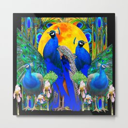 IRIS ART BLUE PEACOCKS & FULL GOLDEN MOON Metal Print
