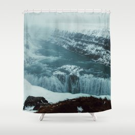 Gullfoss Waterfall in fog Shower Curtain