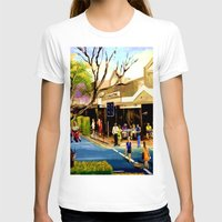 cafe T-shirts featuring Sidewalk Cafe by Helen Syron