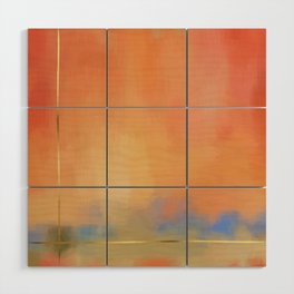 Abstract Landscape With Golden Lines Painting Wood Wall Art