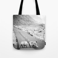 irish Tote Bags featuring Irish Sheeps by GF Fine Art Photography