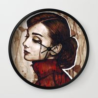 audrey Wall Clocks featuring Audrey  by Olechka