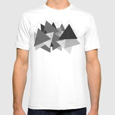 Triangle Grey MEDIUM Mens Fitted Tee White
