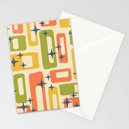 Retro Mid Century Modern Abstract Pattern 277 Yellow Orange Green Stationery Cards