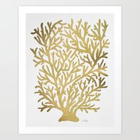 coral Art Prints featuring Gold Coral by Cat Coquillette