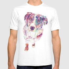Multicolored Australian Shepherd red merle herding dog T-shirt