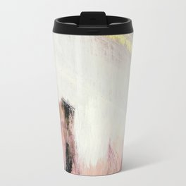 Sunrise [2]: a bright, colorful abstract piece in pink, gold, black,and white Metal Travel Mug