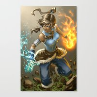 korra Canvas Prints featuring Korra by Quirkilicious