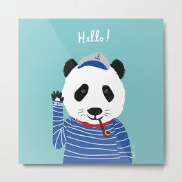 Mr. Panda Seaman Metal Print
