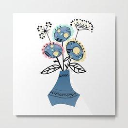 Quilling, flowers in vase 2 Metal Print