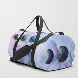 Moon Phases on Cloudy Blue Magic Sky #moontravel #decor #collage Duffle Bag