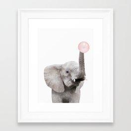 Bubble Gum Baby Elephant Framed Art Print