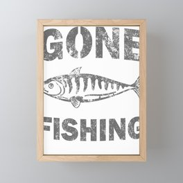 Awesome Distressed Fisherman Gifts Gone Fishing Fisher Framed Mini Art Print