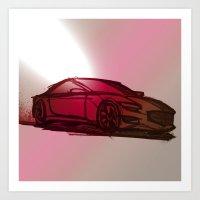 Sports Car Sketch Art Print