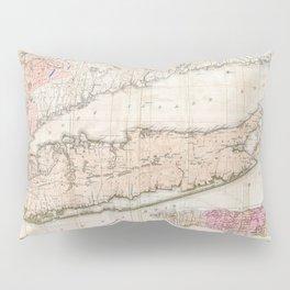 Long Island New York 1842 Mather Map Pillow Sham