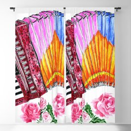 Accordion with pink roses Blackout Curtain