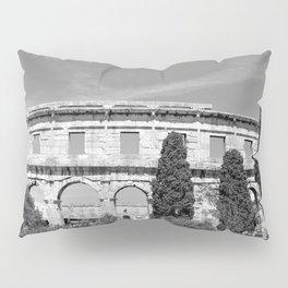 arena amphitheatre pula croatia ancient black white Pillow Sham