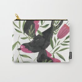 Swallow with Flowers Carry-All Pouch