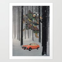 Dreaming in The Red Car Art Print