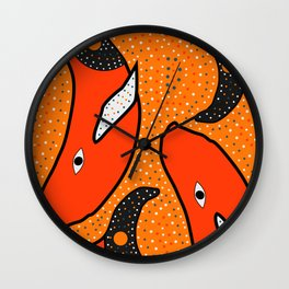 Whales - aboriginal Wall Clock
