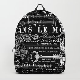 Black And White Vintage Hand Lettering And Ornaments Script Pattern Backpack