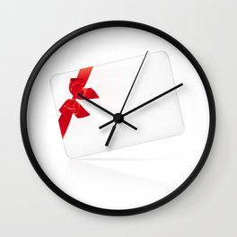 Card with red bow Wall Clock