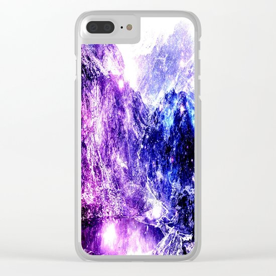 galaxy mountains Clear iPhone Case