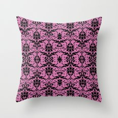 Black Damask and Pink Glitters Throw Pillow