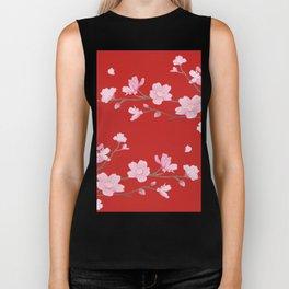 Cherry Blossom - Red Biker Tank