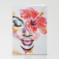 hibiscus Stationery Cards featuring Hibiscus by Maria Lozano - Art
